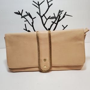 OLIVIA + JOY  Beige Large Clutch with Embellished
